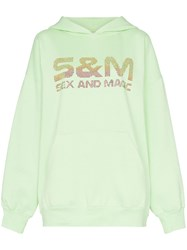 Ashish Crystal Embellished S And M Slogan Hoodie Green