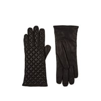 Barneys New York Quilted Leather Gloves Black