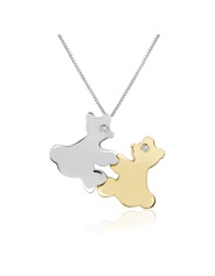 Forzieri Diamond And 18K Gold Teddy Bears Pendant Necklace White Yellow Gold