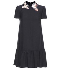 Red Valentino Applique Crepe Dress Black