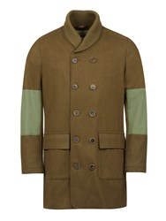Realm And Empire Double Breasted Wool Shawl Collar Coat Green