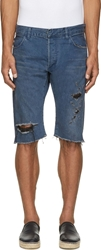 Balmain Blue Destroyed Denim Shorts