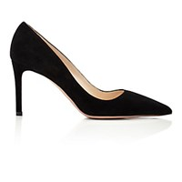 Prada Women's Suede Point Toe Pumps Black Blue Black Blue
