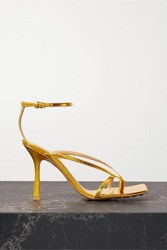 Bottega Veneta Metallic Leather Sandals Gold