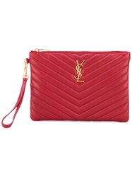 Saint Laurent Monogram Pouch Women Calf Leather One Size Red