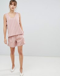 Selected Femme Stripe Shorts Co Ord Pink