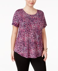 Jm Collection Plus Size Printed Short Sleeve Top Only At Macy's Pink Moda Animal