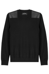 The Kooples Merino Wool Pullover With Leather Black