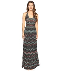 M Missoni Lurex Ripple Halter Neck Maxi Dress Black