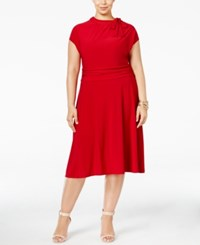 Love Squared Plus Size Tie Neck A Line Dress Red