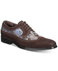 Tallia Sergio Mixed Media Tweed Oxfords Shoes Chocolate