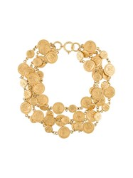 Chanel Vintage Coin Multi Strand Necklace Metallic