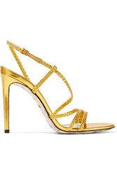 Gucci Haines Braided Metallic Leather Slingback Sandals Gold Gbp