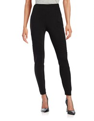 Vince Camuto Moto Inspired Knit Leggings Rich Black
