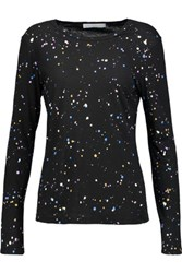 Kain Label Edith Paint Splattered Cotton And Modal Blend Top Black