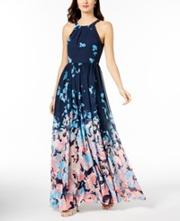 Betsy And Adam Printed Halter Gown Navy Turquoise