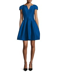 Halston Heritage Tulip Skirt Split Neck Party Dress Cobalt Size 4
