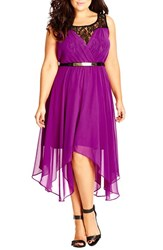 Plus Size Women's City Chic Belted Lace Contrast Back Keyhole Dress Orchid