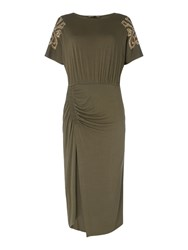 Biba Ruched Detail Embellished Shoulder Dress Khaki