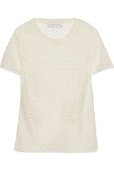 Iro Zana Perforated Cotton Jersey T Shirt Ecru