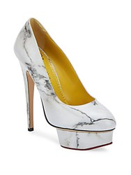 Charlotte Olympia Marble Print Dolly Leather Platform Pumps White Multi