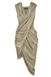 Balmain Hooded Draped Metallic Knit Dress Fr44