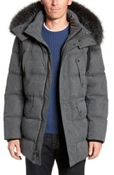 Andrew Marc New York Belmont Genuine Fox Fur Trim Down Parka Grey