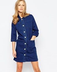 The Laden Showroom X Even Vintage Indigo Denim Shirt Dress With Pearl Buttons