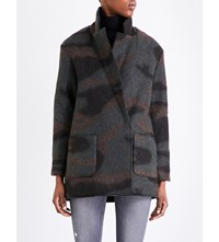 French Connection Camouflage Wool Felt Coat Black