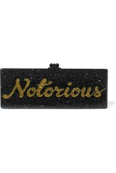 Edie Parker Flavia Notorious Glittered Acrylic Box Clutch Black