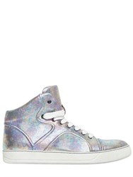 Lanvin Laminated Leather High Top Sneakers