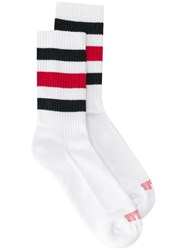 Eleventy Striped Socks White