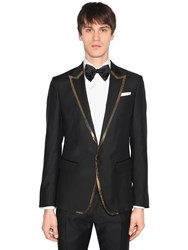 Dsquared London Wool Silk Jacket W Sequined Trim Black Gold