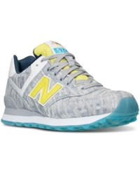 New Balance Women's 574 Summer Waves Casual Sneakers From Finish Line Silver Lime