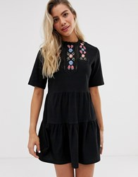 Urban Bliss Darcy Smock Dress With Embroidery Black