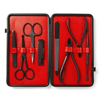 Czech And Speake Leather Bound Manicure Set Red