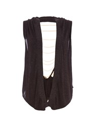 Relish Sleeveless Cardigan With Chained Back. Black