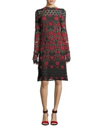 Naeem Khan Floral Embroidered Lace Long Sleeve Cocktail Dress Red Black