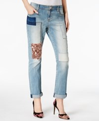 Inc International Concepts Curvy Patched Boyfriend Jeans Created For Macy's Indigo