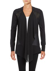Michael Michael Kors Knit And Chiffon Flyaway Cardigan Black