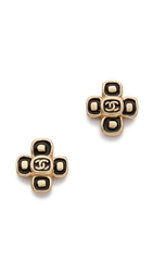 Wgaca Vintage Chanel Small Cross Earrings