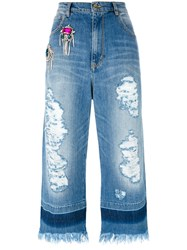 Marco Bologna Crystal Embellished Cropped Raw Jeans Blue