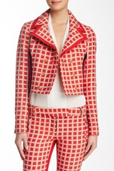 L.A.M.B. Cropped Checked Jacket Red