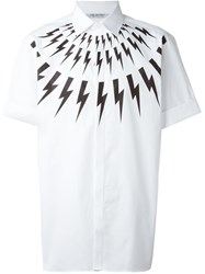 Neil Barrett 'Lightning Bolt' Short Sleeve Shirt White