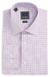 David Donahue Men's Big And Tall Trim Fit Check Dress Shirt Sky Berry