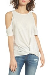 Women's Bp. Twist Front Cold Shoulder Tee White