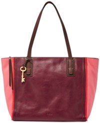 Fossil Emma Leather Tote Red Multi