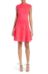 Ted Baker Women's London Zaralie Jacquard Panel Skater Dress Mid Orange
