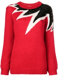 Aniye By Sequinned Colour Block Sweater Red