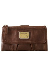 Women's Fossil 'Emory' Leather Clutch Wallet Brown Saddle